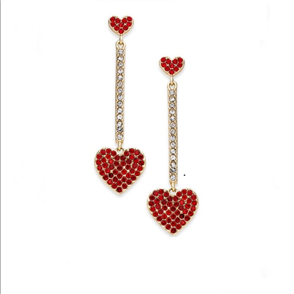 b1ea8bca1 kate spade Jewelry   Yours Truly Pave Heart Linear Earrings   Poshmark